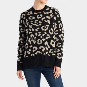 Coco + Carmen Oversized Wool Blend Leopard Sweater L/XL